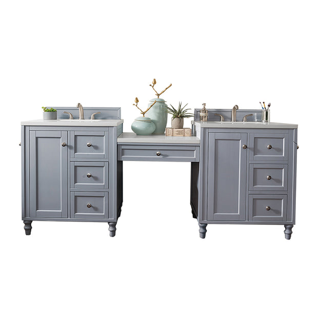 James Martin 301-V86-SL-DU-3CAR Copper Cove Encore 86 Inch Double Vanity Set in Silver Gray with Makeup Table in 3 CM Carrara Marble Top