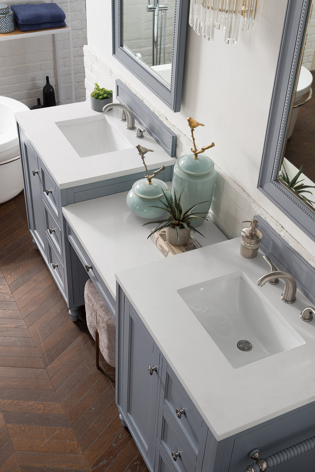 James Martin 301-V86-SL-DU-3SNW Copper Cove Encore 86 Inch Double Vanity Set in Silver Gray with Makeup Table in 3 CM Snow White Quartz Top