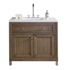 James Martin 305-V36-WWW-3SNW Chicago 36 Inch White Washed Walnut Single Vanity with Snow 3 CM White Quartz Top