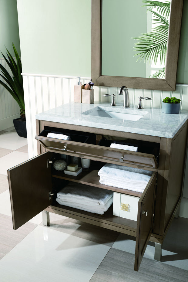 James Martin 305-V36-WWW-4CAR Chicago 36 Inch White Washed Walnut Single Vanity with 4 CM Carrara White Stone Top