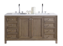 James Martin 305-V60D-WWW-4CAR Chicago 60 Inch White Washed Walnut Double Vanity with Carrara White Stone Top