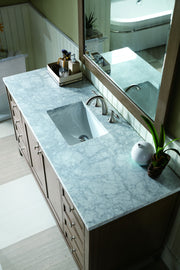 James Martin 305-V60S-WWW-3SHG Chicago 60 Inch White Washed Walnut Single Vanity with 3 CM Shadow Gray Quartz Top