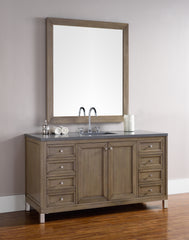 James Martin 305-V60S-WWW-3SNW Chicago 60 Inch White Washed Walnut Single Vanity with 3 CM Snow White Quartz Top