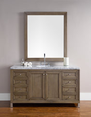 James Martin 305-V60S-WWW-4CAR Chicago 60 Inch White Washed Walnut Single Vanity with Carrara White Stone Top