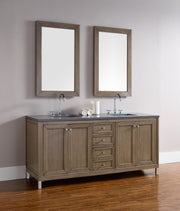 James Martin 305-V72-WWW-4CAR Chicago 72 Inch White Washed Walnut Double Vanity with Carrara White Stone Top
