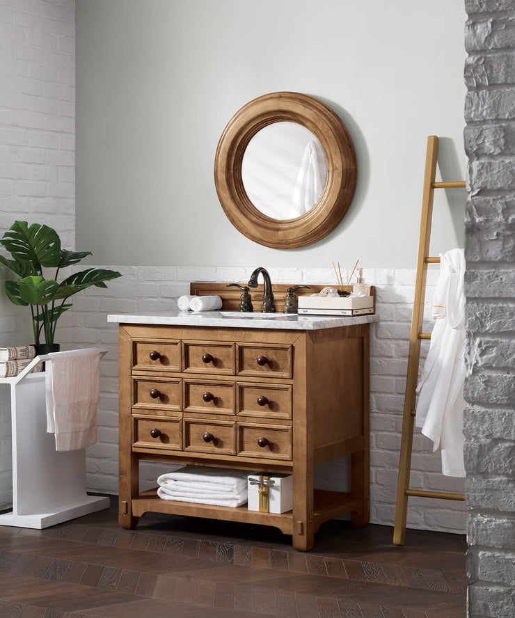 James Martin 500-V36-HON Malibu 36 Inch Single Vanity Cabinet, Honey Alder