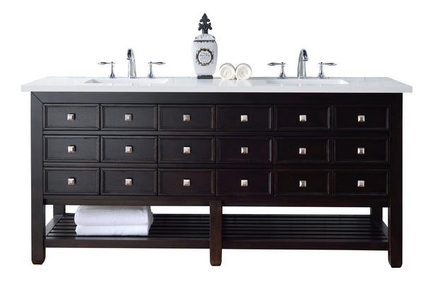 James Martin 505-V72-CEO-4CAR Vancouver 72 Inch Cerused Espresso Oak Double Vanity with Carrara White Stone Top