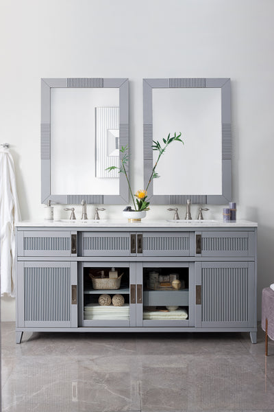 James Martin 516-V72-SL-4GLB Brisbane 72 Inch Double Vanity in Silver Gray with 4 CM Galala Beige Marble Top