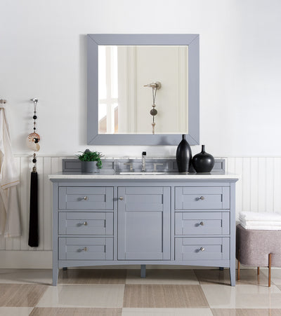 James Martin 527-V60S-SL-4CAR Palisades 60 Inch Single Vanity in Silver Gray with 4 CM Carrara White Marble Top
