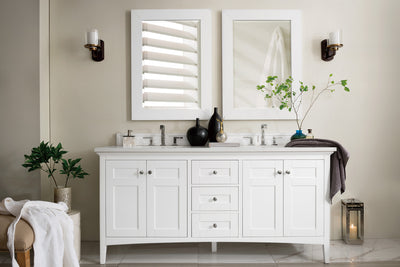 James Martin 527-V72-BW-3CAR Palisades 72 Inch Double Vanity in Bright White with 3 CM Carrara Marble Top