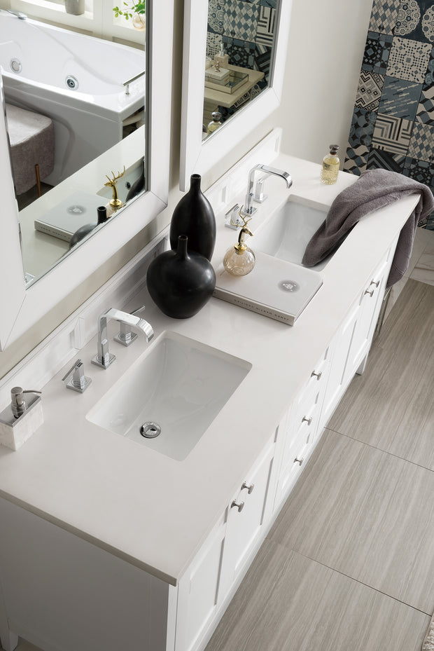 James Martin 527-V72-BW-4DSC Palisades 72 Inch Double Vanity in Bright White with 4 CM Santa Cecilia Granite Top