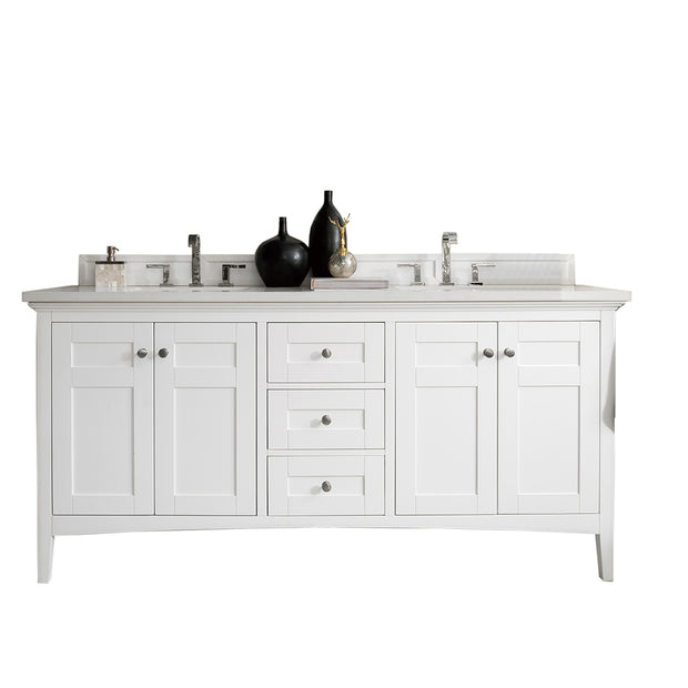 James Martin 527-V72-BW-4GLB Palisades 72 Inch Double Vanity in Bright White with 4 CM Galala Beige Marble Top
