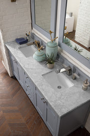 James Martin 527-V72-SL-3AF Palisades 72 Inch Double Vanity in Silver Gray with 3 CM Arctic Fall Solid Surface Top