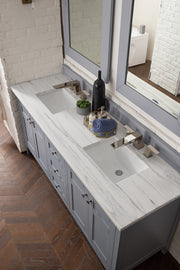 James Martin 527-V72-SL-3CAR Palisades 72 Inch Double Vanity in Silver Gray with 3 CM Carrara Marble Top