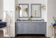 James Martin 527-V72-SL-3SND Palisades 72 Inch Double Vanity in Silver Gray with 3 CM Summer Sand Quartz Top