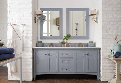 James Martin 527-V72-SL-4BLK Palisades 72 Inch Double Vanity in Silver Gray with 4 CM Absolute Black Rustic Stone Top