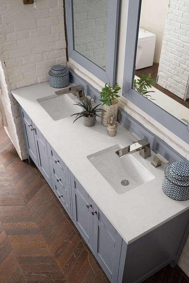 James Martin 527-V72-SL-4CAR Palisades 72 Inch Double Vanity in Silver Gray with 4 CM Carrara White Marble Top