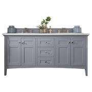 James Martin 527-V72-SL-4DSC Palisades 72 Inch Double Vanity in Silver Gray with 4 CM Santa Cecilia Granite Top
