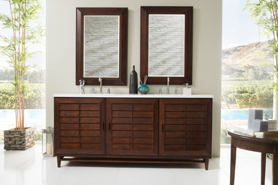 James Martin 620-V72-BNM-3SNW Portland 72 Inch Double Vanity in Burnished Mahogany with 3 CM Snow White Quartz Top