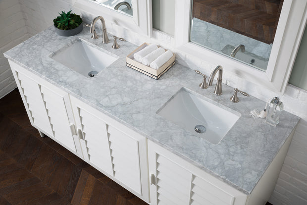 James Martin 620-V72-CWH-3CAR Portland 72 Inch Double Vanity in Cottage White with 3 CM Carrara Marble Top