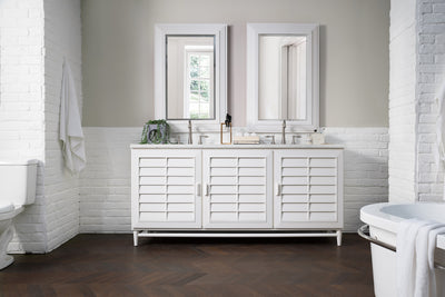 James Martin 620-V72-CWH-4CAR Portland 72 Inch Double Vanity in Cottage White with 4 CM Carrara White Marble Top