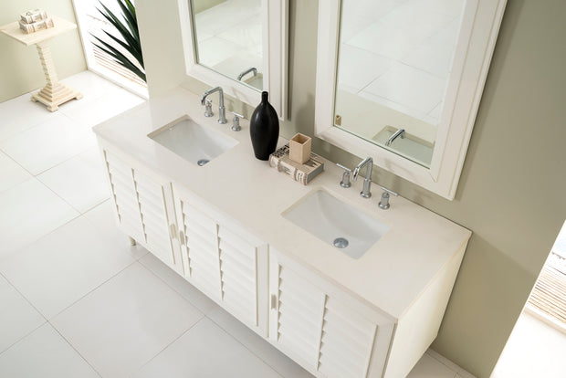 James Martin 620-V72-CWH-4GLB Portland 72 Inch Double Vanity in Cottage White with 4 CM Galala Beige Marble Top