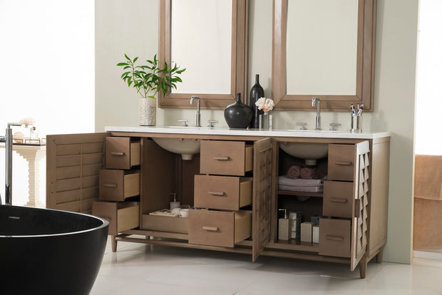 James Martin 620-V72-WW-3AF Portland 72 Inch Double Vanity in White Washed Walnut with 3 CM Arctic Fall Solid Surface Top