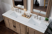 James Martin 620-V72-WW-3CAR Portland 72 Inch Double Vanity in White Washed Walnut with 3 CM Carrara Marble Top