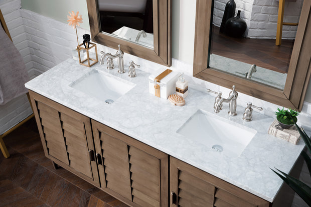 James Martin 620-V72-WW-4CAR Portland 72 Inch Double Vanity in White Washed Walnut with 4 CM Carrara White Marble Top