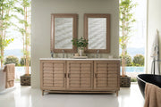 James Martin 620-V72-WW Portland 72 Inch Double Vanity, White Washed Walnut