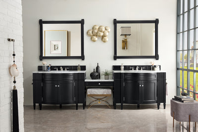 James Martin 650-V118-BKO-DU-CAR Brittany 118 Inch Double Vanity Set in Black Onyx with Makeup Table in 3 CM Carrara Marble Top