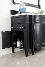 James Martin 650-V118-BKO-DU-SNW Brittany 118 Inch Double Vanity Set in Black Onyx with Makeup Table in 3 CM Snow White Quartz Top