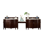 James Martin 650-V118-BNM-DU-AF Brittany 118 Inch Double Vanity Set in Burnished Mahogany with Makeup Table in 3 CM Arctic Fall Solid Surface Top