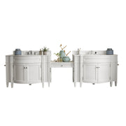 James Martin 650-V118-CWH-DU-AF Brittany 118 Inch Double Vanity Set in Cottage White with Makeup Table in 3 CM Arctic Fall Solid Surface Top