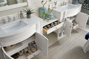 James Martin 650-V118-CWH-DU-CAR Brittany 118 Inch Double Vanity Set in Cottage White with Makeup Table in 3 CM Carrara Marble Top