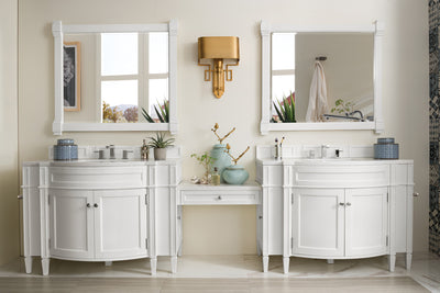 James Martin 650-V118-CWH-DU-SNW Brittany 118 Inch Double Vanity Set in Cottage White with Makeup Table in 3 CM Snow White Quartz Top