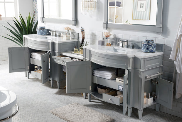 James Martin 650-V118-UGR-DU-AF Brittany 118 Inch Double Vanity Set in Urban Gray with Makeup Table in 3 CM Arctic Fall Solid Surface Top