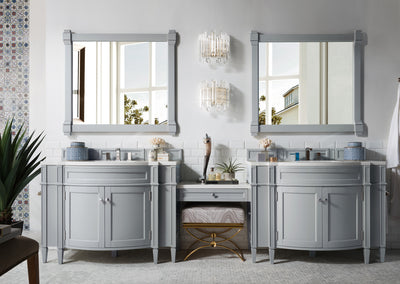 James Martin 650-V118-UGR-DU-SNW Brittany 118 Inch Double Vanity Set in Urban Gray with Makeup Table in 3 CM Snow White Quartz Top