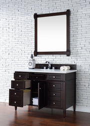 James Martin 650-V48-BNM-3SNW Brittany 48 Inch Burnished Mahogany Single Vanity with 3cm Snow White Quartz Top