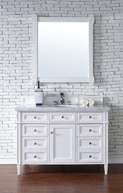 James Martin 650-V48-CWH-2CAR Brittany 48 Inch Cottage White Single Vanity with 2cm Carrara White Stone Top