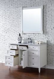 James Martin 650-V48-CWH-3SNW Brittany 48 Inch Cottage White Single Vanity with 3cm Snow White Quartz Top
