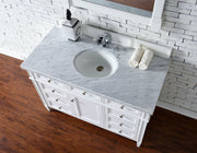 James Martin 650-V48-CWH-4CAR Brittany 48 Inch Cottage White Single Vanity with 4cm Carrara White Stone Top