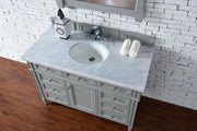 James Martin 650-V48-UGR-3SNW Brittany 48 Inch Urban Gray Single Vanity with 3cm Snow White Quartz Top