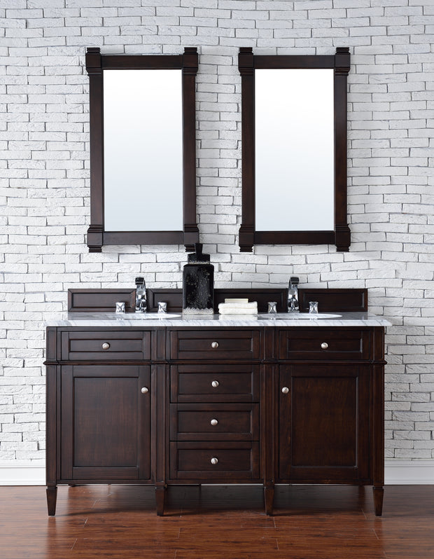 James Martin 650-V60D-BNM-2CAR Brittany 60 Inch Burnished Mahogany Double Vanity with 2cm Carrara White Stone Top