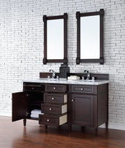 James Martin 650-V60D-BNM-3SHG Brittany 60 Inch Burnished Mahogany Double Vanity with 3cm Shadow Gray Quartz Top