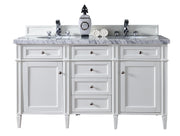 James Martin 650-V60D-CWH-2CAR Brittany 60 Inch Cottage White Double Vanity with 2cm Carrara White Stone Top