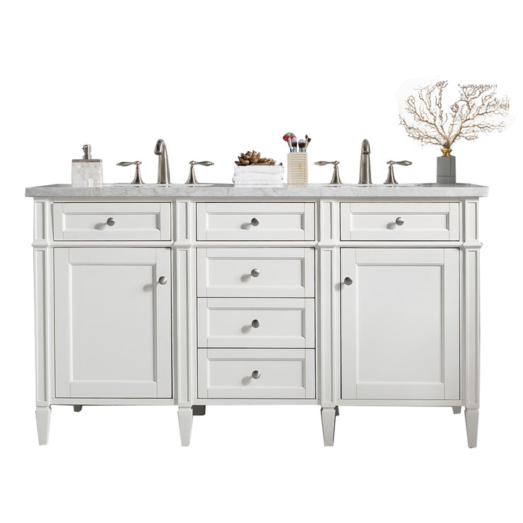 James Martin 650-V60D-CWH-3SNW Brittany 60 Inch Cottage White Double Vanity with 3cm Snow White Quartz Top