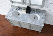 James Martin 650-V60D-UGR-2CAR Brittany 60 Inch Urban Gray Double Vanity with 2cm Carrara White Stone Top