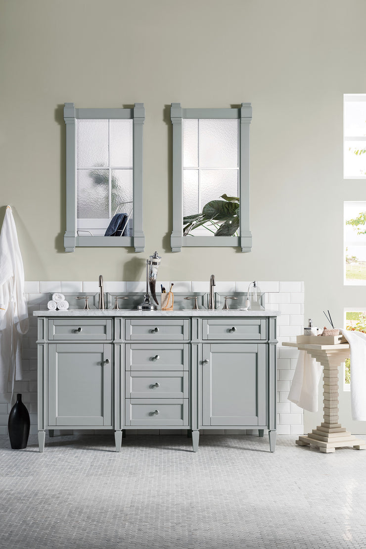 James Martin 650-V60D-UGR-3SHG Brittany 60 Inch Urban Gray Double Vanity with 3cm Shadow Gray Quartz Top