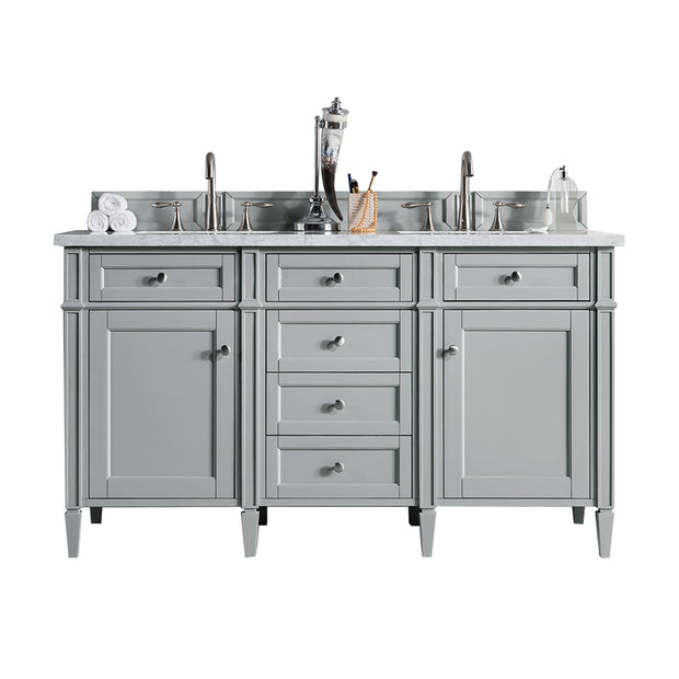 James Martin 650-V60D-UGR-3SNW Brittany 60 Inch Urban Gray Double Vanity with 3cm Snow White Quartz Top